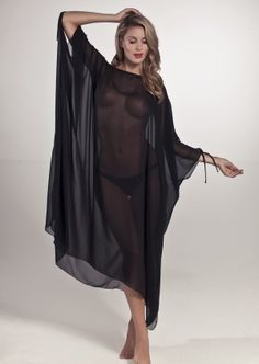 Nicole Olivier Rivage Beach Cover-up | Black | Sheer | Kaftan | Designer Beachwear
