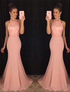 2017 Custom Made Charming Pink Beading Prom Dress, Sexy Halter Prom Dress, Mermaid Prom Dress,Sleeveless Evening Dress
