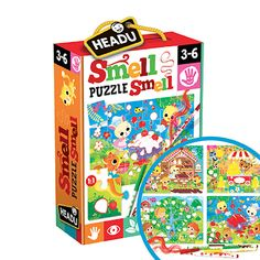 Puzzles that wake up the sense of smell! 4 x 24-piece puzzles with four scented markers – banana, chocolate, strawberry and green apple – yummy!) Colour in the blank parts of the puzzle with the matching marker. Your child will be matching colour and smell while benefiting from all the skills to be learned in puzzle building. Sensory Toys, Family Games, Your Child, Puzzles, Markers, Lunch Box, Strawberry, Banana, Puzzle