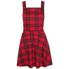 PurpleHanger Women's Tartan Check Print Dungaree Pinafore Straps Mini... (23 AUD) ❤ liked on Polyvore featuring dresses, red plaid dress, pinafore dresses, mini dress, pattern dress and plaid mini dress