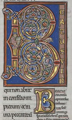 Very well known and beautiful Romanesque historiated letter - color brilliance is amazing.  ms.92 'Pierre Lombard, Commentaire sur les Psaumes - David Jouant de la Harpe'.  The 'Manerius' style from the late 12th century  Visit the blog and click to enlarge  http://bibliodyssey.blogspot.com/2006/08/treasures-of-troyes.html