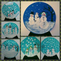 Snow globe with snowman family - art class 1 - Art Education ideas Winter Art Projects, Winter Crafts For Kids, Art For Kids, Primary School Art, Elementary Art, Art Club, Art Plastique, Teaching Art, Christmas Art