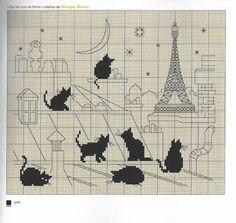 0 point de croix grille chats noirs sur les toits de Paris