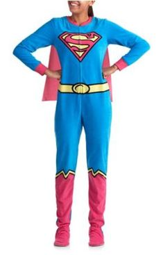 DC Comics Supergirl Footed Pajamas w Cape Costume Footie NWT S or L LAST  ONES   b1cf31b03
