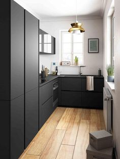 Small dark kitchen