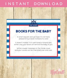 New to TppCardS on Etsy: Instant Download Blue Red Nautical Book Request Anchor Book in Lieu of Card Navy Sailor Theme Baby Shower Book Instead of Card (4.00 EUR)