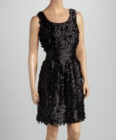 Black Laser Cut Taffeta Dress