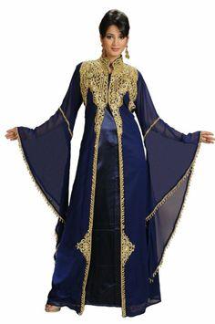 Amazon.com: AModestStyles Women's Dubai Abaya Kaftan -Medium Dark Blue: Clothing