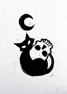 Halloween Print: Cat with the Moon – Tattoo Sketches & Tattoo Drawings Cat Tattoo, Tattoo Drawings, Cute Drawings, Body Art Tattoos, Halloween Prints, Halloween Art, Cute Halloween Drawings, Sketch Art, Drawing Sketches