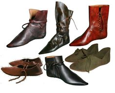 men's medieval footwear Medieval Costume, Medieval Dress, Medieval Fashion, Medieval Clothing, Historical Costume, Historical Clothing, Medieval Boots, Renaissance Boots, Draw Boots