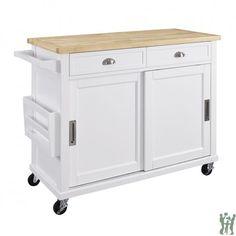 Linon 464906WHTABU Sherman Kitchen Cart White Casters