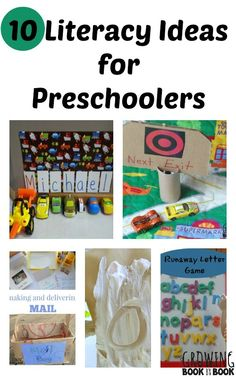 Fun and playful literacy ideas for preschoolers to build reading and writing skills from growingbookbybook.com