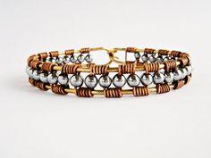 Wire Wrapped Copper Cuff Bracelet Brass Cuff por elisaboutique