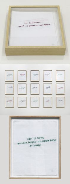 Annette Messager - Ma collection de proverbes // Set of 15 embroidered fabrics // 35 x 28 cm each proverb // Wooden slipcase, 42 x 35 x 5.5 cm // 1972 - 2012 // Limited edition of 24 numbered and signed copies and 6 artist's proofs