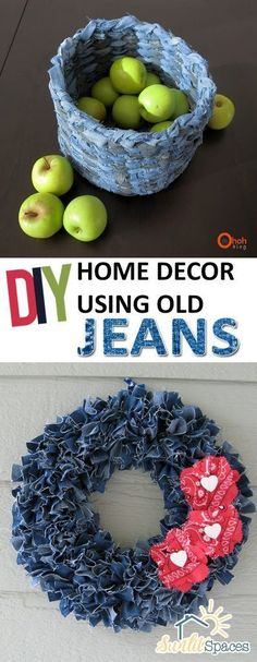 DIY Home Decor Using Old Jeans| Recycling Old Jeans, How to Use and Recycle Old Jeans, Old Jeans Home Decor, Home Decor Hacks, Recycling Projects, Repurpose Projects, Simple Repurpose Projects, Popular Pin #DIYHomeDecorSewing #diyjeansdecoration
