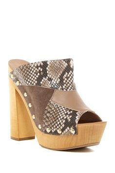 Kitty Snake Embossed Peep Toe Platform Sandal by Shellys London on @nordstrom_rack