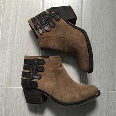 """Tan Booties Tan ankle boots with dark brown details. Heel is approximately 2.25"""". Suede feel. Leather upper. Roman Vintage Shoes Ankle Boots & Booties"""