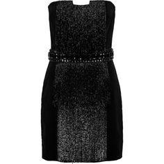 Balmain - Bead And Crystal-embellished Cotton-velvet Mini Dress (4.745 BRL) ❤ liked on Polyvore featuring dresses, black, short beaded cocktail dresses, cutout dresses, mini dress, cut-out dresses and cut out mini dress