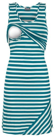 Striped nursing tank dress in teal -