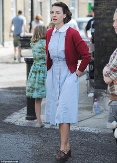 Anticipation mounting: Jessica Raine, as nurse Jenny Lee, throws herself back into character following the first series being so successful it took over Downton Abbey during its season finale in February