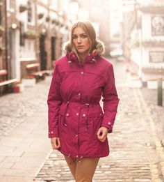 The Georgia Parka. Available in two colours, Beetroot Red and Indigo Blue | Target Dry http://www.targetdry.com/collections/ladies-coats/products/target-dry-georgia-parka-for-women