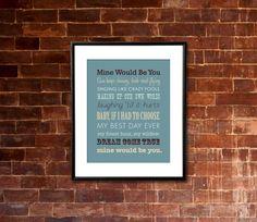 "Printable BLAKE SHELTON ""Mine Would Be You"" Lyrics Artwork | jaydot creative #minewouldbeyou"