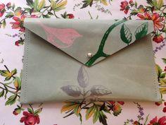 Leather silk screened clutch purse/wallet   bird by KrakensandCats