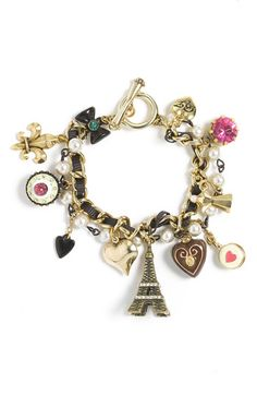 Betsey Johnson 'Betsey Paris' Charm Bracelet - Nordstrom, I like this cute charm bracelet probably because it is Paris themed ! Cute Jewelry, Jewelry Box, Jewelry Making, Jewellery, Girls Accessories, Jewelry Accessories, Jewelry Design, Charm Braclets, The Bling Ring