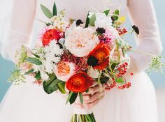 colorful bouquet   peonies   red, pink, white