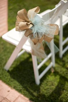 Burlap and tule bows for aisle decorations. Materials available at www.yourweddingcompany.com