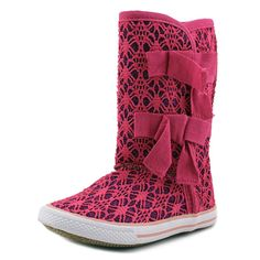 "Volatile Girls Shimmer Sneaker Boots (10 Little Kids, Fuchsia Pink). The style name is Shimmer. The style number is SHIMMER-FUS. Brand Color: Fuchsia (Main Color: Pink). Material: Sequin. Measurements: Shaft measures 9"", Circumference measures 11"" and 0.75"" heel. Width: M (T)."