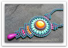 patrickduggandesigns unique artisan jewellery: Aztec Sun 2 and SOLD yippeeeee! Neon Jewelry, Jewelry Crafts, Beaded Jewelry, Aztec Jewelry, Beaded Necklaces, Handmade Jewelry Designs, Jewellery Designs, Handmade Jewellery, Bead Art