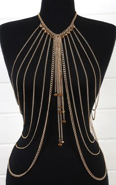 Dangling Beads Draped Body Necklace GOLD