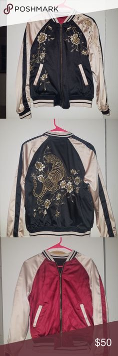 Express Tiger Reversible Bomber Jacket - XS Excellent condition. Never worn. Reversible and has an embroidered tiger design on the back. Size X-Small. Made of polyester and cotton. Machine washable. Express Jackets & Coats