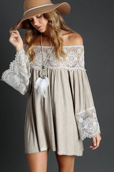 Brienna Lace Bodice Off Shoulder Boho Tunic Top