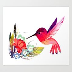 Hummingbird by Taylor Price. painting digital acrylic other illustration bird flowers floral animal wildlife colorful pink red. Click through for prints, cards, phone cases etc. Hummingbird Illustration, Hummingbird Art, Illustration Art, Bird Drawings, Animal Drawings, Canvas Art Projects, Nail Art, Watercolor Cards, Doodle Art