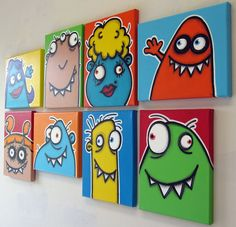 aNOThER WaLL fULL oF UgLiEs set of 8 8x10 original paintings