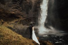 Truth is I could watch a waterfall longer than a movie. It's a truly mesmerizing experience. Eloping in Iceland under waterfalls and on black sand beaches. A dream come true! Black Sand, Dream Come True, All Over The World, Waterfalls, Iceland, Beaches, Weddings, Watch, Movies