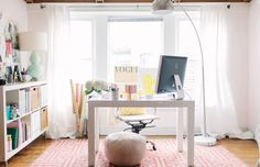 Girly workspace with EXPEDIT storage unit | The Everygirl via Front & Main