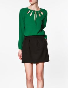 Round Neck Long-sleeved Solid Chiffon Shirt Green >> Great blouse! $29