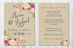 Romantische Einladungskarten für die Hochzeit, Vintage Rosen / vintage wedding invitations, floral with handlettering made by Wild Child Wedding via DaWanda.com