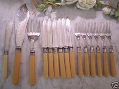 15 Antique & Silverplate Flatware Engraved Bakelite Handles $69.95