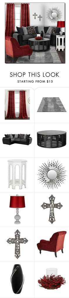 """Red, Black, White & Charcoal Living Room"" by pwhiteaurora ❤ liked on Polyvore featuring interior, interiors, interior design, home, home decor, interior decorating, Lush Décor, Safavieh, Stonebriar Collection and Pier 1 Imports"