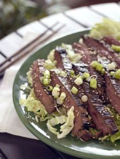 Brown sugar brings a nice sweetness to this garlicky, gingery marinade for flank steak or flap steak. Serve sliced steak on a bed of shredded cabbage or rice.