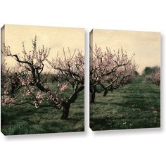 ArtWall Kevin Calkins Cheery Cherries 2-Piece Gallery-Wrapped Canvas Set, Size: 18 x 28, Green