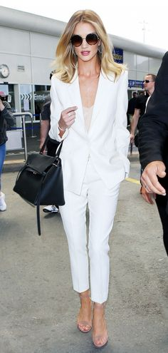 Rosie Huntington-Whiteley airport white suit