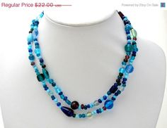 30% Off Blue Bead Necklace Green Purple by TheJewelryLadysStore