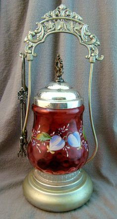 CRANBERRY GLASS BRASS MARBLE VANITY