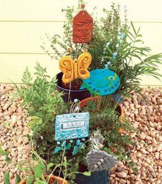 Whimsical Garden Markers made with clay