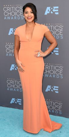 Critics' Choice Awards: Red Carpet Looks You Need to See | People - Gina Rodriguez in an orange Safiyaa dress